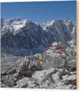 Everest Prayer Flags Wood Print