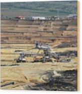 Excavators Working On Open Pit Coal Mine Wood Print