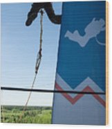 Extreme Sports Ropejumping Wood Print