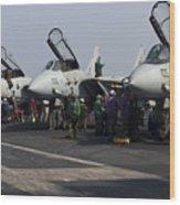 F-14d Tomcats On The Flight Deck Of Uss Wood Print