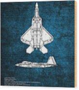 F22 Raptor Blueprint Wood Print