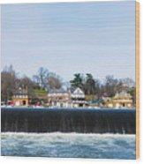 Fairmount Dam - Boathouse Row Wood Print