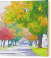 Fall In Holly Hill Wood Print