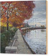 Fall In Port Credit On Wood Print