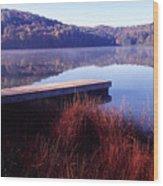 Fall Morning On The Lake Wood Print