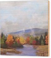 Fall Pond Scene Wood Print