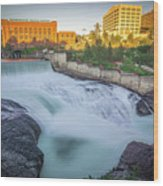 Falls And The Washington Water Power Building Along The Spokane  Wood Print