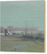 Farm At Dusk Wood Print