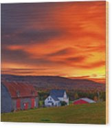 Farm At Sunset In Wentworth Valley Wood Print