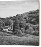 Farmhouse And Surrounding Countryside At Loughrigg Fell And Loughrigg Tarn Near Ambleside Lake Distr Wood Print