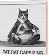 Fat Cat Capsizing Wood Print