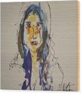 Female Face Study  B Wood Print