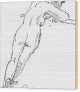 Female Figure Drawing Standing Pose Fountain Pen Ink  Wood Print
