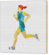 Female Triathlete Marathon Runner Low Polygon Wood Print