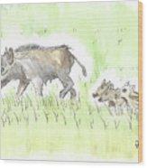 Feral Hogs Wood Print