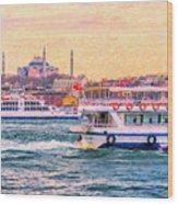 Ferry Traffic On The Bosphorus Wood Print