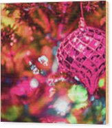 Festive Christmas Tree With Lights And Decorations Wood Print