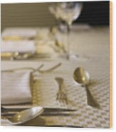 Festive Table Setting For A Formal Dinner  Wood Print