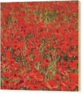 Field Of Poppies Wood Print