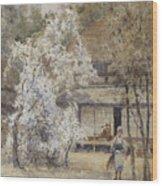 Figure In A Japanese Landscape Wood Print