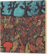 Finding Autumn Leaves Wood Print
