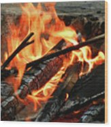 Fire At The Beach IIi Wood Print by Mariola Bitner