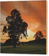 Fire On The Sky Wood Print