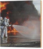 Firefighting Marines Battle A Huge Wood Print