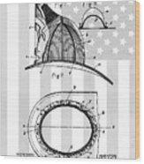 Fireman's Helmet Patent Wood Print