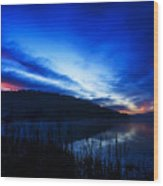 First Light At The Lake Wood Print
