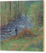 Fisher On The Bank Of The River Wood Print