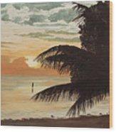 Fisherman At Sunrise Wood Print