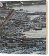 Fisherman's Wharf And Pier 39 Aerial Photo Wood Print