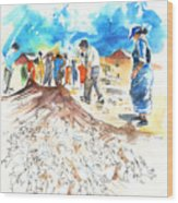 Fishermen In Praia De Mira Wood Print