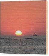 Fishing Boat At Sunrise Wood Print