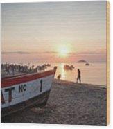 Fishing Boats And The Informal Market - Senga Bay Lake Malawi Wood Print