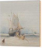Fishing Boats Off Lowestoft Wood Print