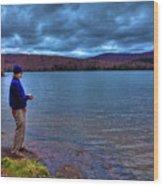 Fishing Limekiln Lake Wood Print