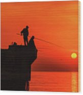 Morning Fishing 1 Wood Print