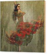 Flamenco In Red Wood Print