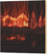 Flaming Houses Lights Water Reflection Christmas Arizona City Arizona 2005 Wood Print