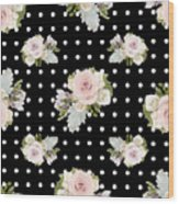 Floral Rose Cluster W Dot Bedding Home Decor Art Wood Print