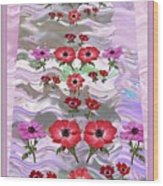 Flower Mania Anemone Fantasy Wave Design Created Of Garden Colors Unique Elegant Decorations Wood Print