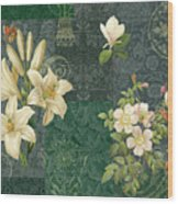 Flower Patchwork 2 Wood Print by JQ Licensing
