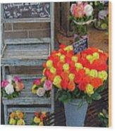 Flower Shop Display In Paris, France Wood Print