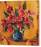 Flowers Modern Abstract Fine Art Canvas Wood Print