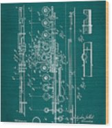 Flute Patent Drawing 2f Wood Print