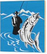 Fly Fisherman Catching Trout Wood Print