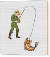 Fly Fisherman Catching Trout Fish Cartoon Wood Print