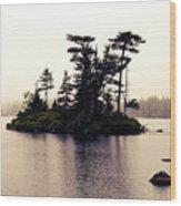 Fog Setting In On The Lake Wood Print